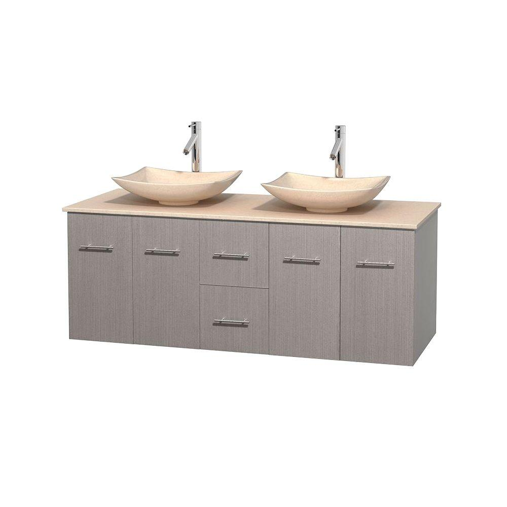 Wyndham Collection Centra 60 in. Double Vanity in Gray Oak with Marble Vanity Top in Ivory and Sinks