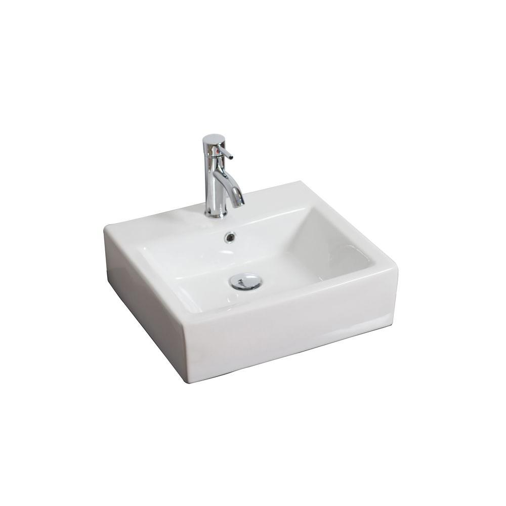 American Imaginations 20-in. W x 18-in. D Wall Mount Rectangle Vessel Sink In White Color For Single Hole Faucet