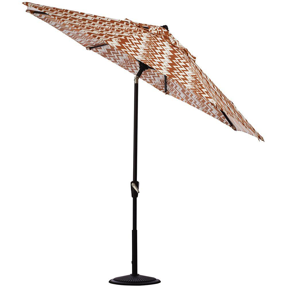 Home Decorators Collection 9 ft. Auto Tilt Patio Umbrella in Rizzy Rust Polyester