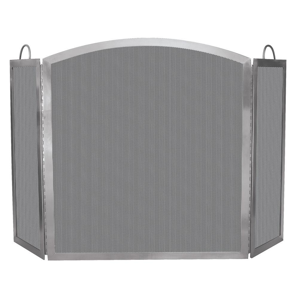UniFlame Stainless Steel 3-Panel Fireplace Screen with Handles