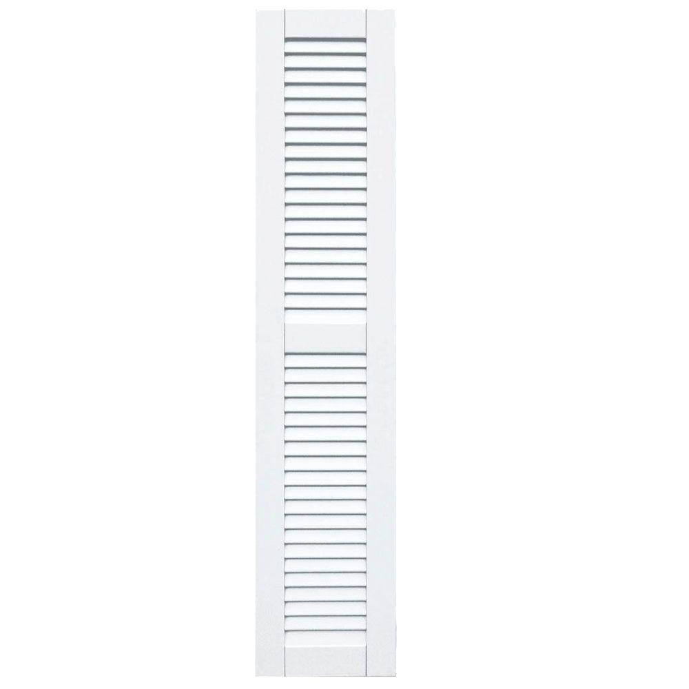 Winworks Wood Composite 12 in. x 57 in. Louvered Shutters Pair #631 White