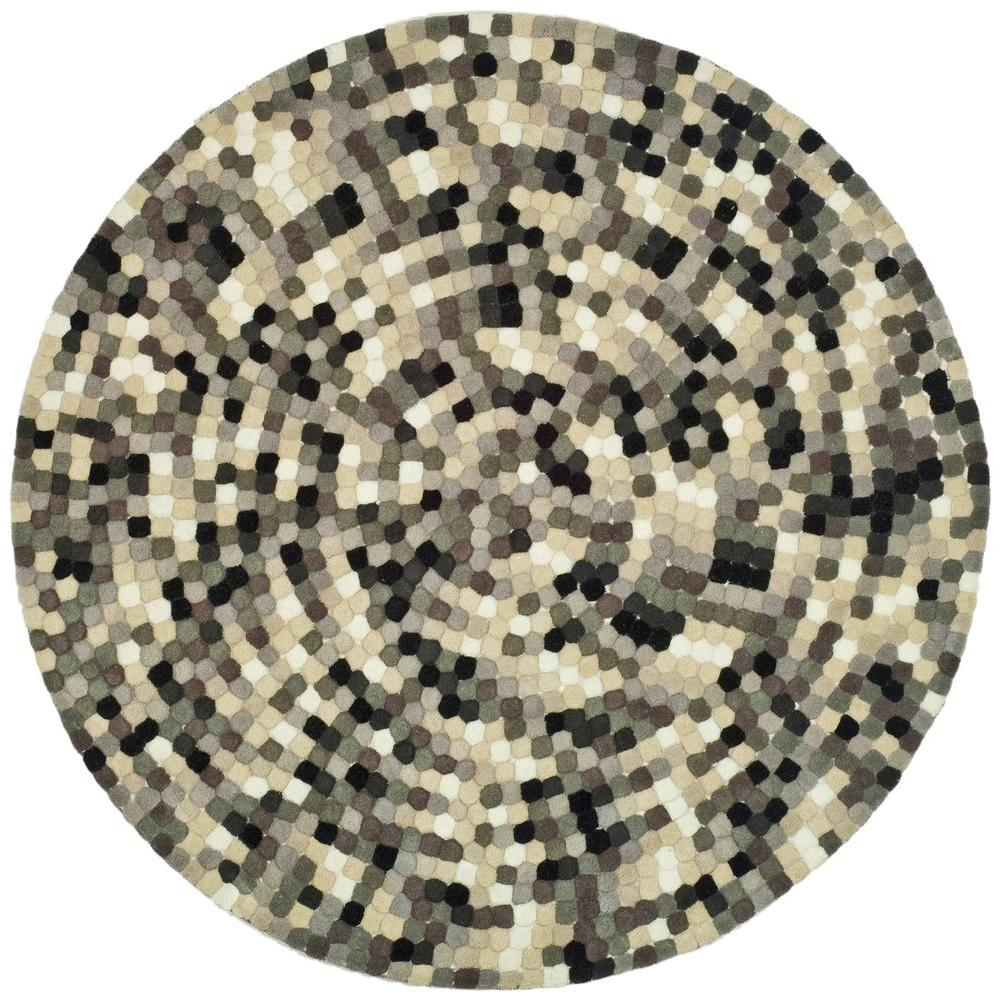 Safavieh Soho Ivory/Grey 6 ft. x 6 ft. Round Area Rug-SOH723A-6R