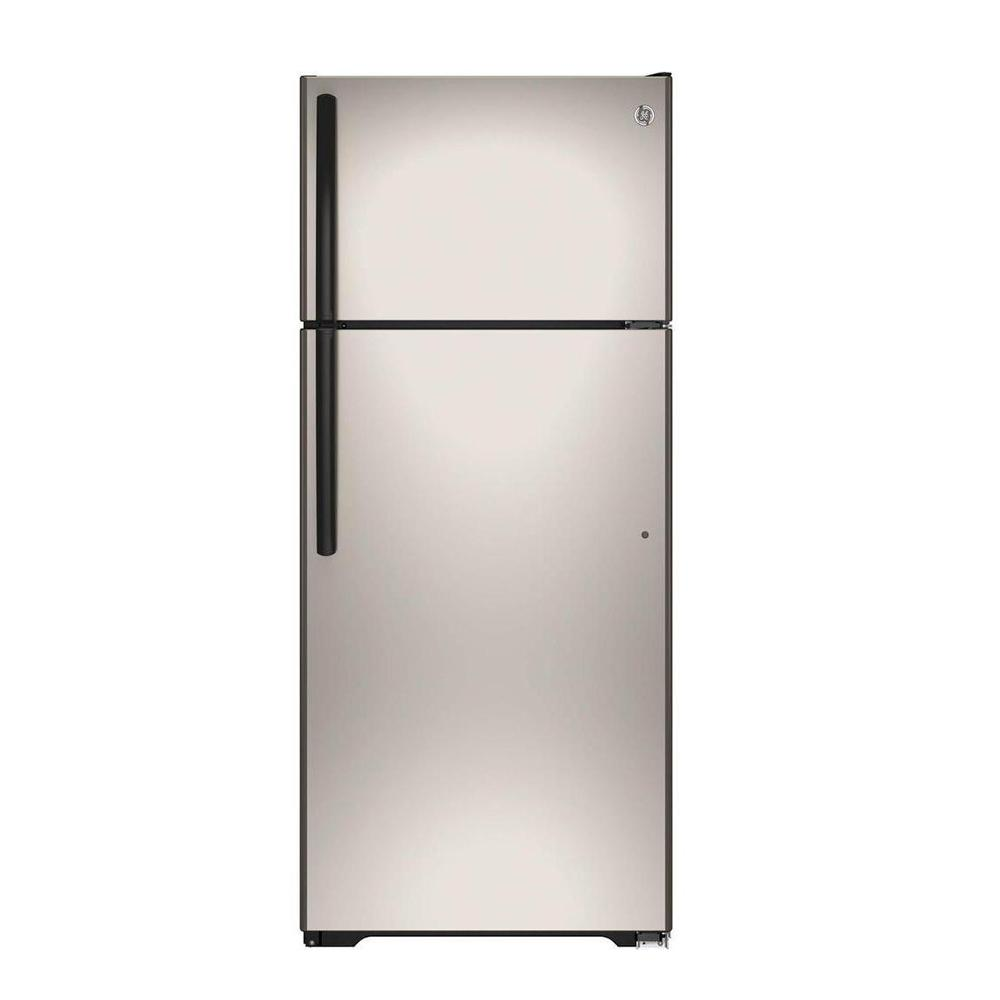 GE 17.5 cu. ft. Top Freezer Refrigerator in Silver-GIE18GCHSA - The