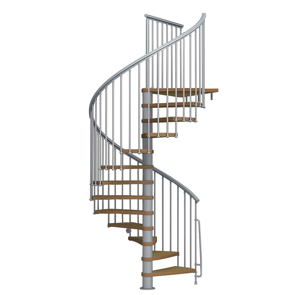 Nice1 63 in. Grey Spiral Staircase Kit
