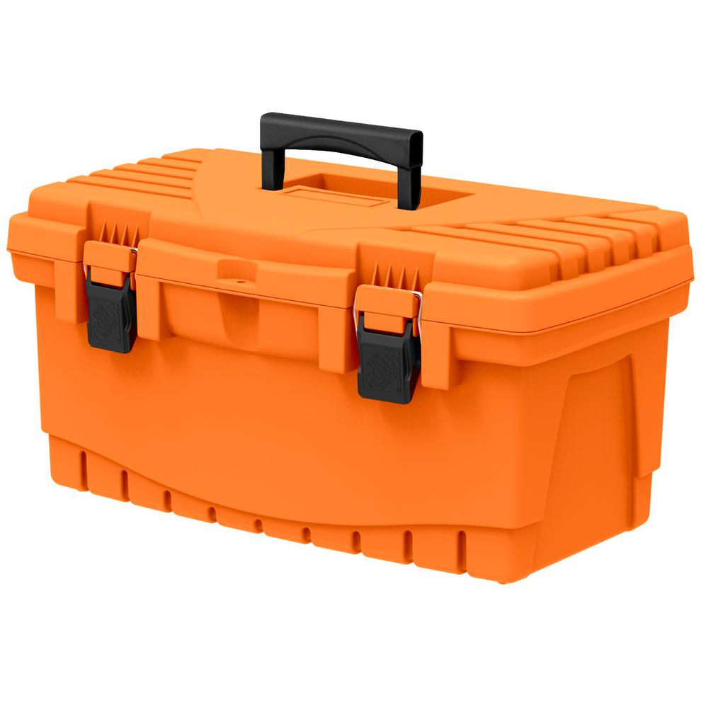 The Home Depot 19 in. Plastic Tool Box with Metal Latches and Removable Tool Tray