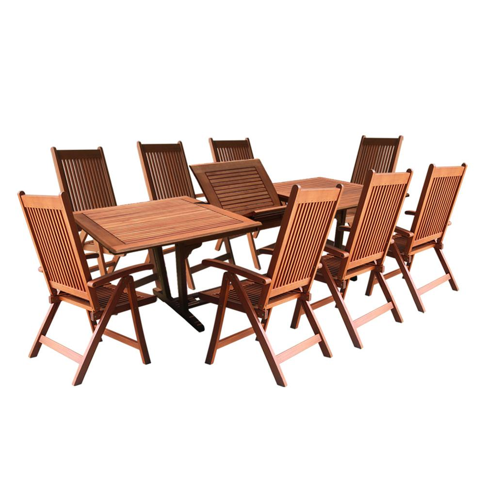 Vifah roch eucalyptus 9 piece patio dining set with for 11 piece dining table set