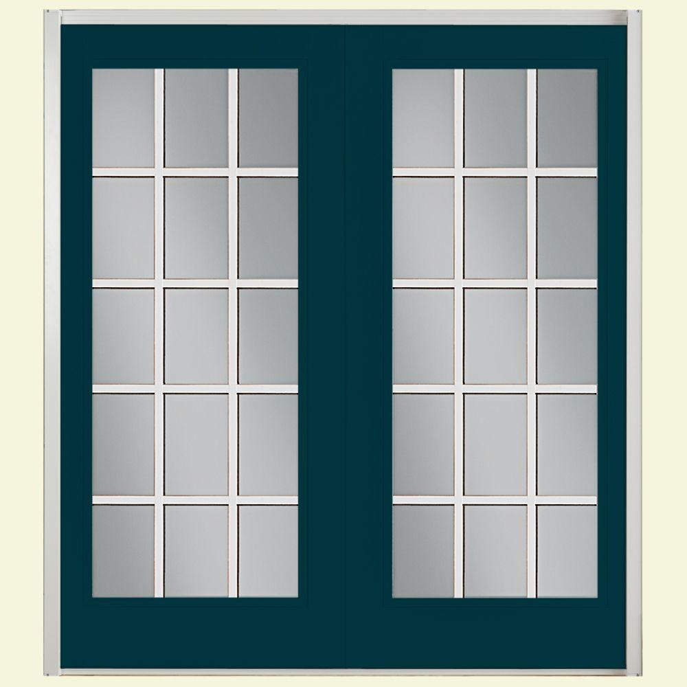 Masonite 60 in. x 80 in. Night Tide Prehung Right-Hand Inswing 15 Lite Steel Patio Door with No Brickmold in Vinyl Frame