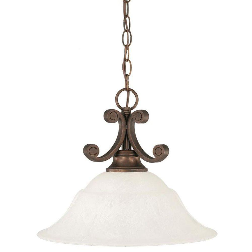 1-Light Bronze Pendant with White Marble Glass