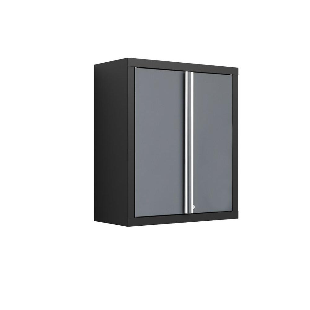 NewAge Products Bold Series 30 in. H x 26 in. W x 12 in. D 2-Door 24-Gauge Welded Steel Wall Garage Cabinet in Gray/Black