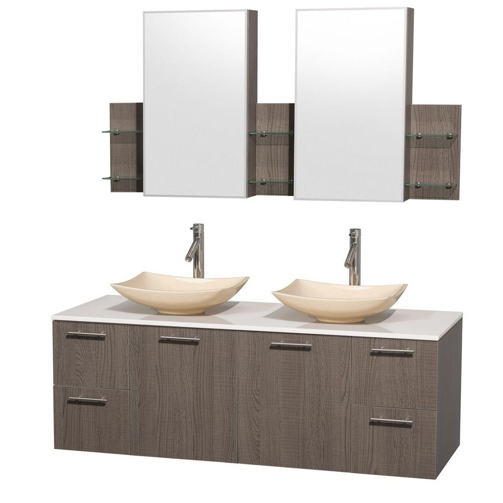 Wyndham Collection Amare 60 in. Double Vanity in Gray Oak with Solid-Surface Vanity Top in White, Marble Sinks and Medicine Cabinet
