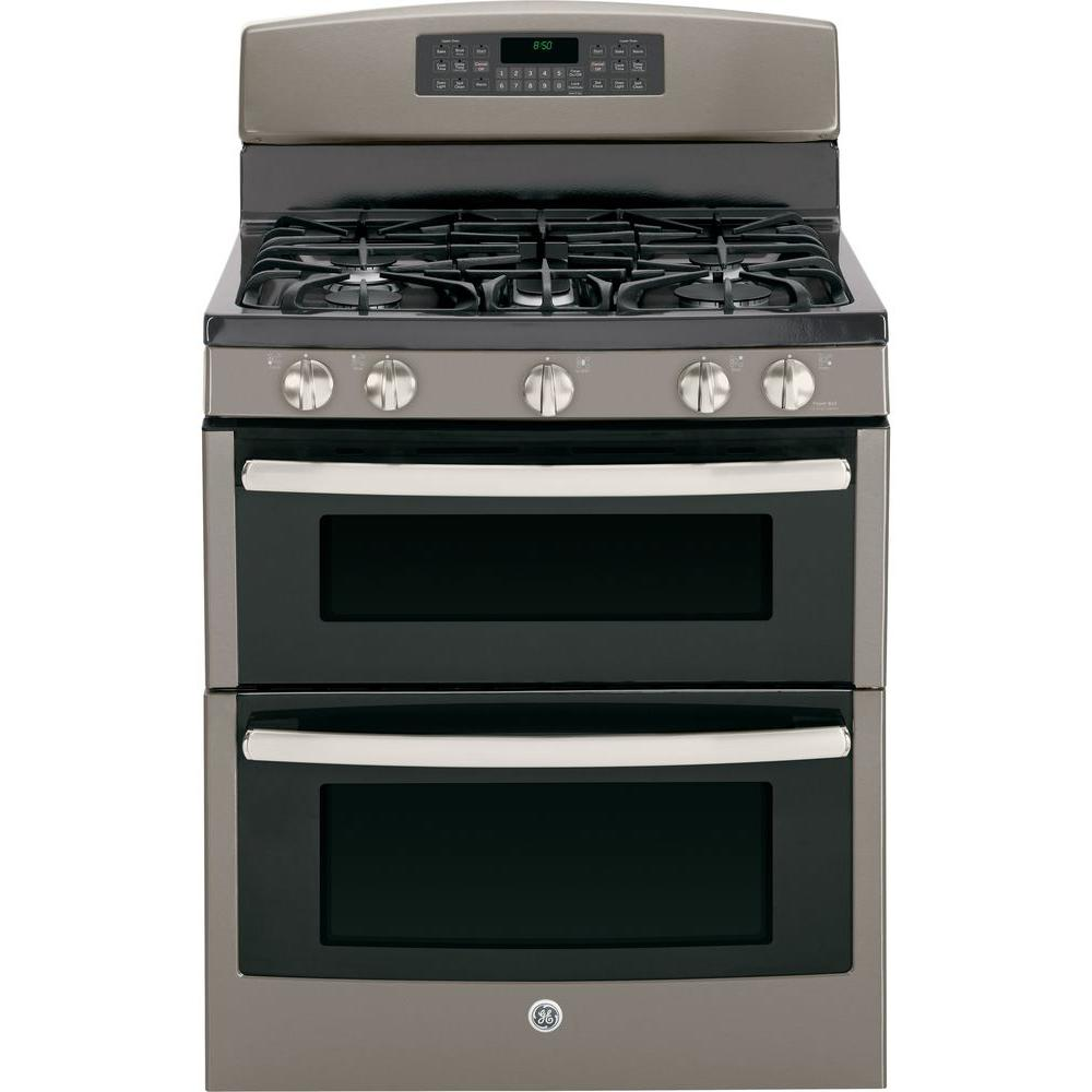 GE 6.8 cu. ft. Double Oven Gas Range with Self-Cleaning Oven in Slate