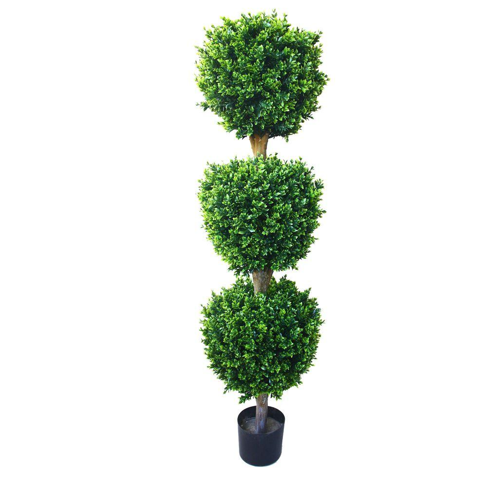 5 ft. Hedyotis Triple Ball Topiary Tree, Green