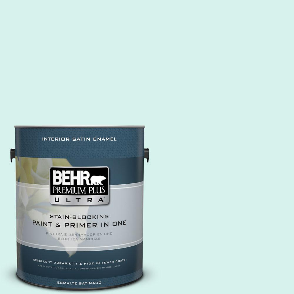 1-gal. #480A-1 Minted Ice Satin Enamel Interior Paint