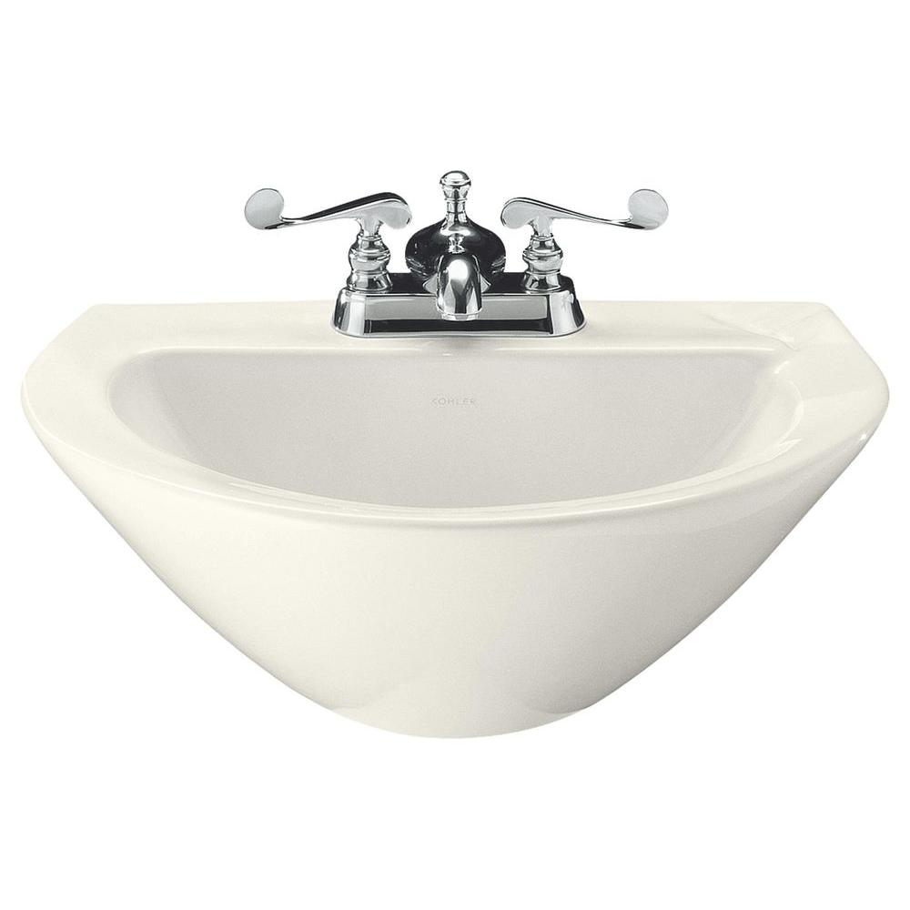 KOHLER Parigi 3-1/2 in. Vitreous China Pedestal Sink Basin in Biscuit with Overflow Drain