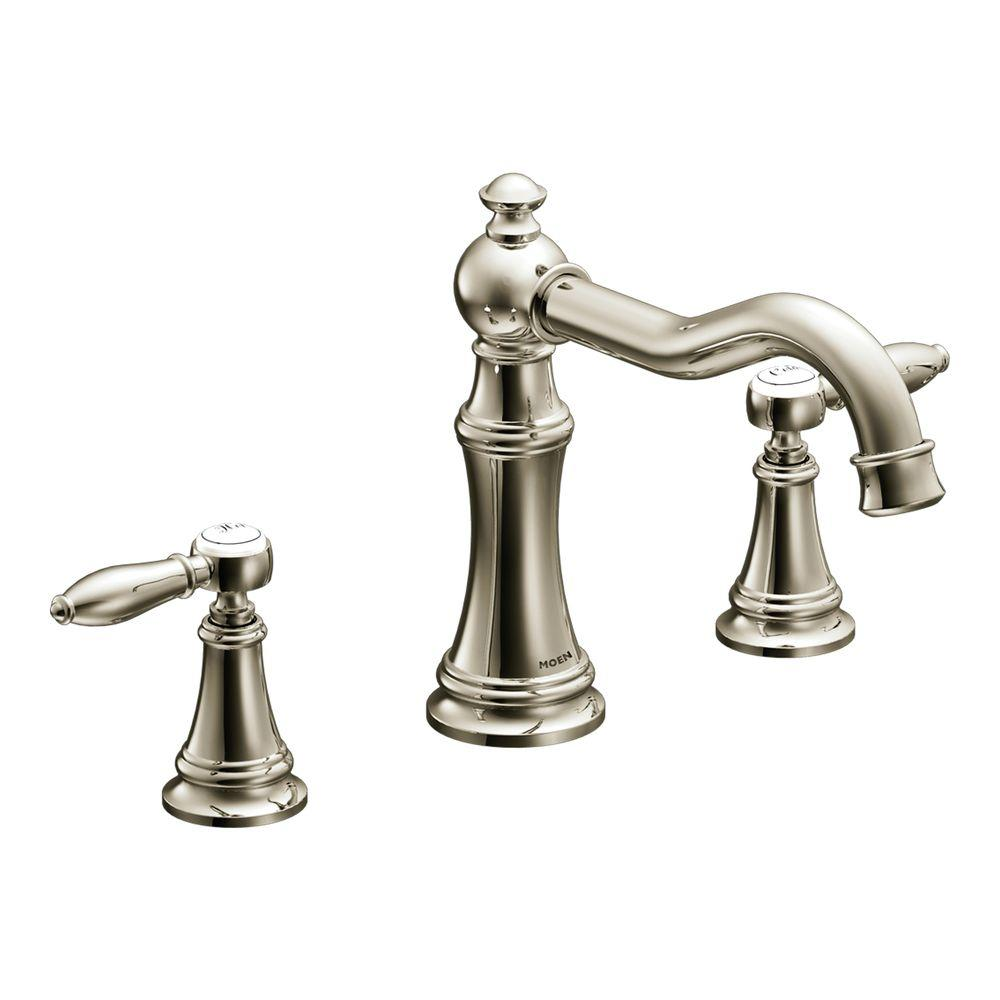 MOEN Weymouth 2-Handle Diverter Deck-Mount High-Arc Roman Tub Faucet in Nickel (Valve Not Included)