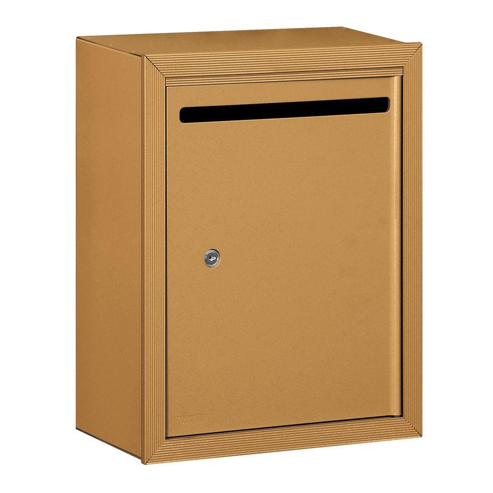 Salsbury Industries 2240 Series Standard Brass Surface-Mounted Private Letter Box with Commercial Lock