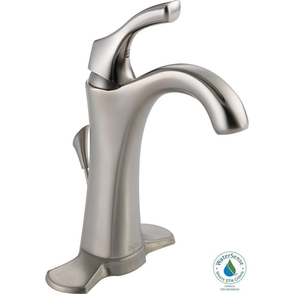 Delta Addison Single Hole Single-Handle Bathroom Faucet with Metal Drain Assembly in Stainless