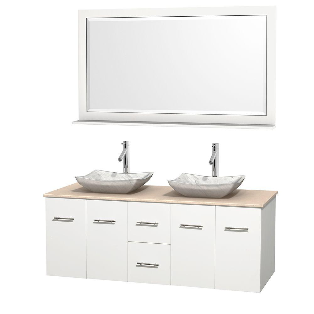 Wyndham Collection Centra 60 in. Double Vanity in White with Marble