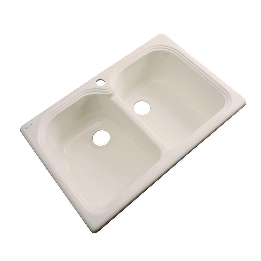 Thermocast Hartford Drop-In Acrylic 33 in. 1-Hole Double Basin Kitchen Sink in Candle Lyte