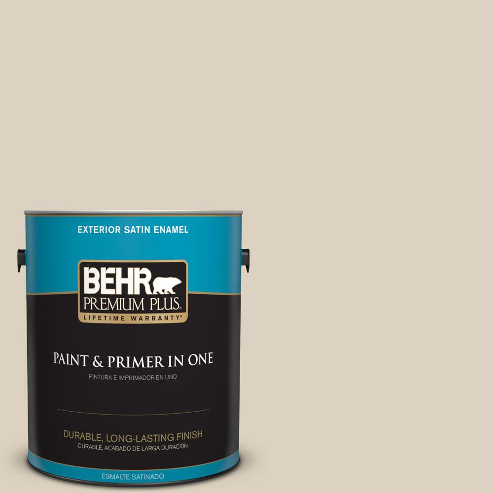 BEHR Premium Plus 1-gal. #OR-W7 Spanish Sand Satin Enamel Exterior Paint