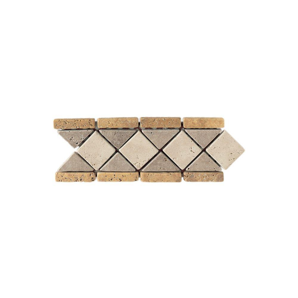 Daltile Travertine Gold / Antalya / Ivory Blend 4 in. x 12 in. Slate Diamond Border Accent Wall Tile, Gold/Ivory