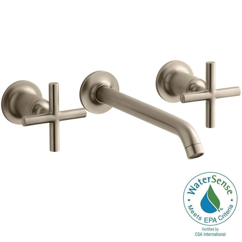 KOHLER Purist 8 in. 2-Handle Low-Arc Wall Mount Water-Saving Bathroom Faucet Trim Only in Vibrant Brushed Bronze