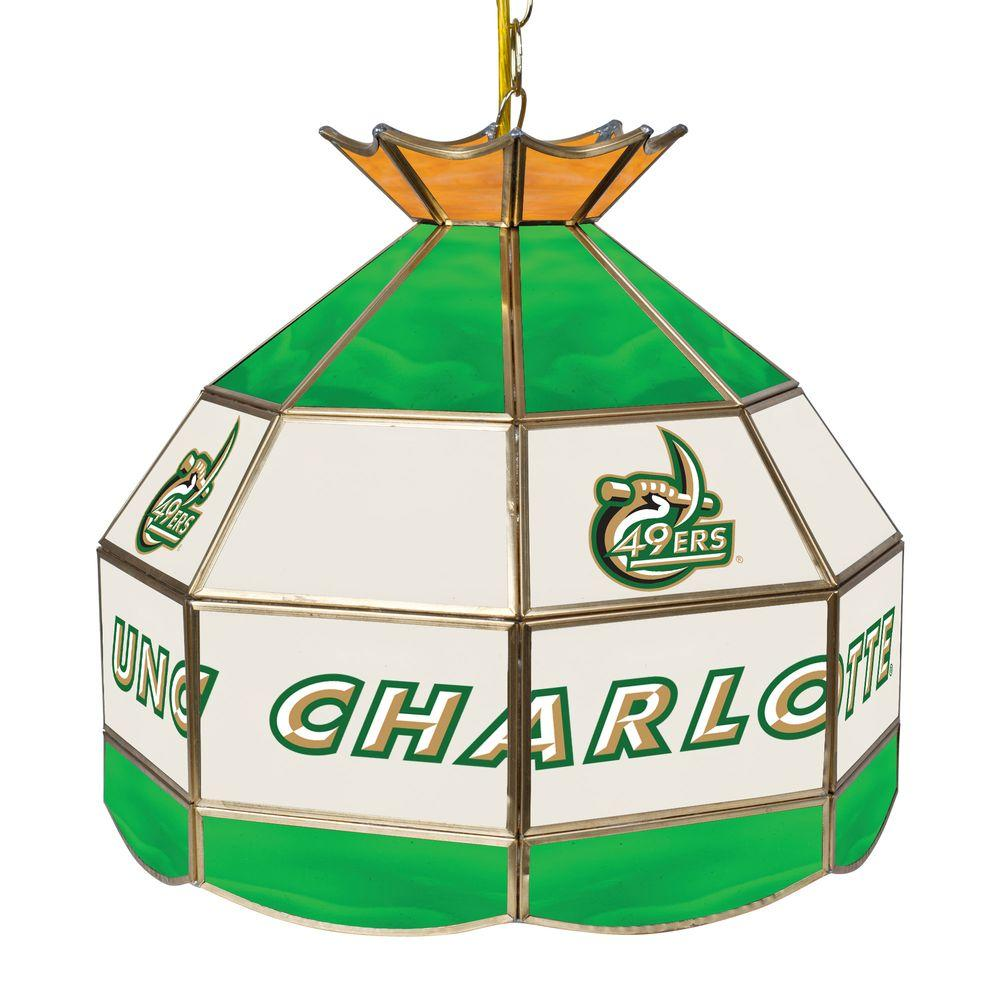 North Carolina Charlotte 16 in. Gold Hanging Tiffany Style Billiard Lamp