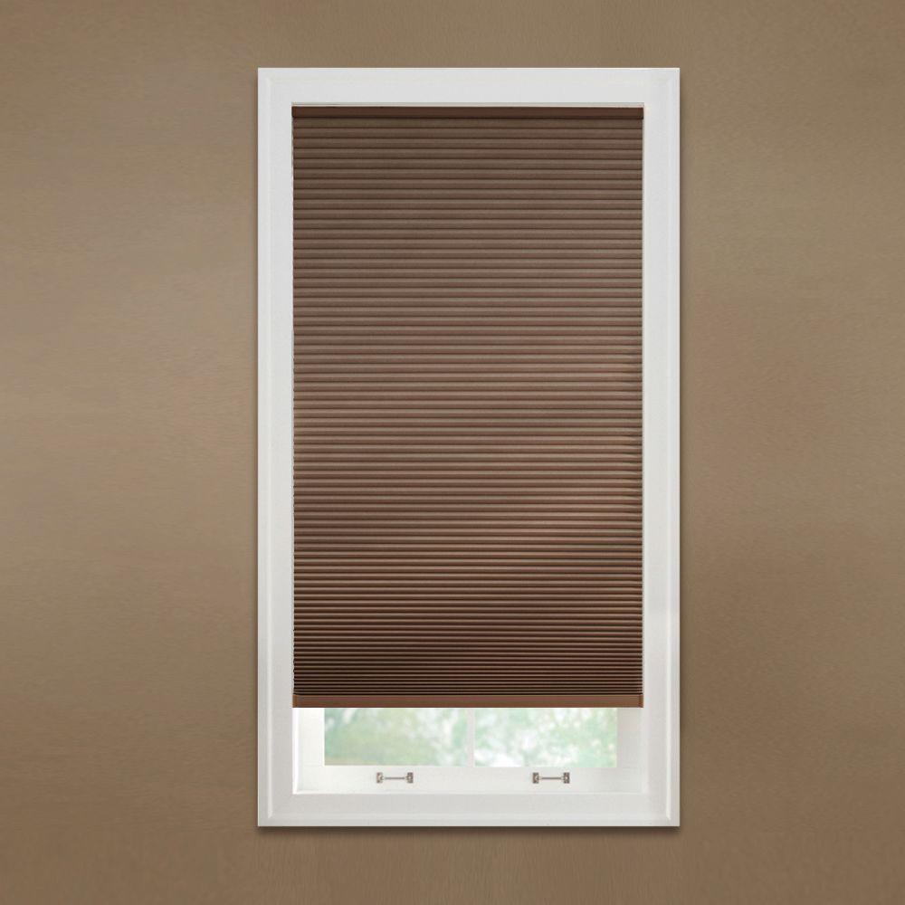 Cut-to-Width Mocha 9/16 in. Blackout Cordless Cellular Shade - 72 in.