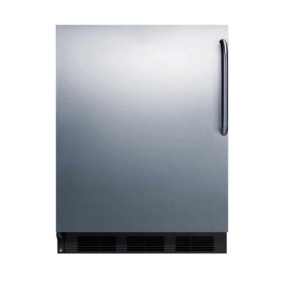 Summit Appliance 24 in. W 5.5 cu. ft. Freezerless Refrigerator in Stainless Steel, Stainless Steel Wrapped Door And Black Cabinet