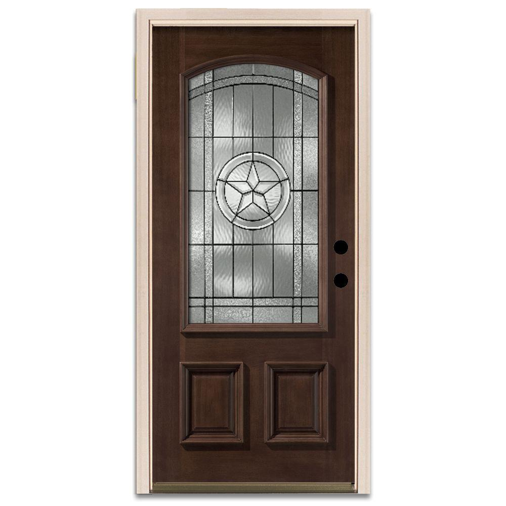 Star 3/4-Arch Lite Prefinished Mahogany Wood Prehung Front Door-DISCONTINUED