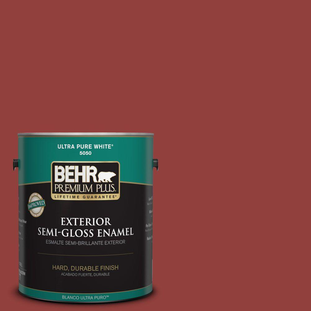 Interior Paint, Exterior Paint & Paint Samples: BEHR Premium Plus Paint 1-gal. #bic-49 Red Red Red Semi-Gloss Enamel Exterior Paint 534001