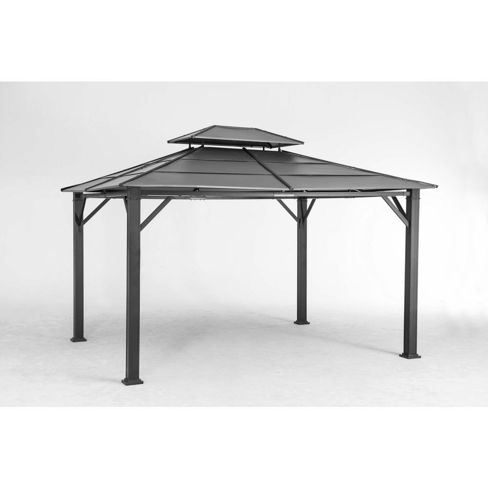 Sunjoy Rolla 10 ft. x 12 ft. Black Steel Gazebo-110102003 -