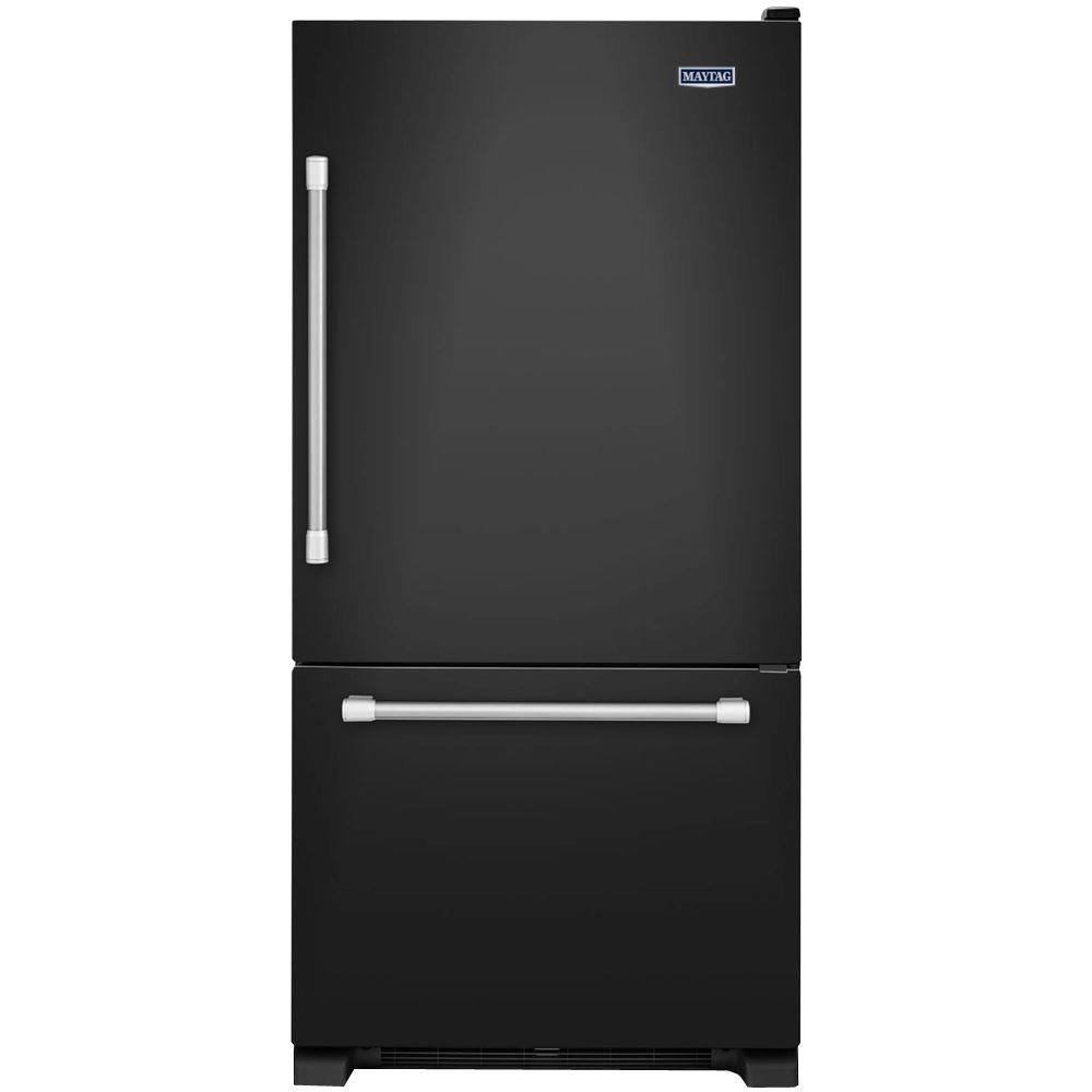 33 in. W 22.1 cu. ft. Bottom Freezer Refrigerator in Black with Stainless Steel Handles