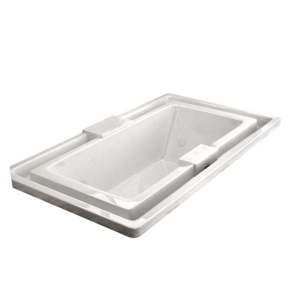 Opal Diamond Series 6.5 ft. Center Drain Rectangular Drop-in Whirlpool and