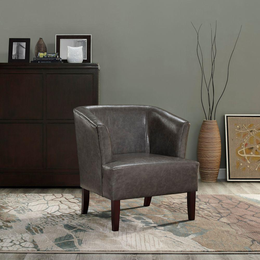 Simpli Home Longford Bonded Leather 1-Piece Tub Chair in Elephant