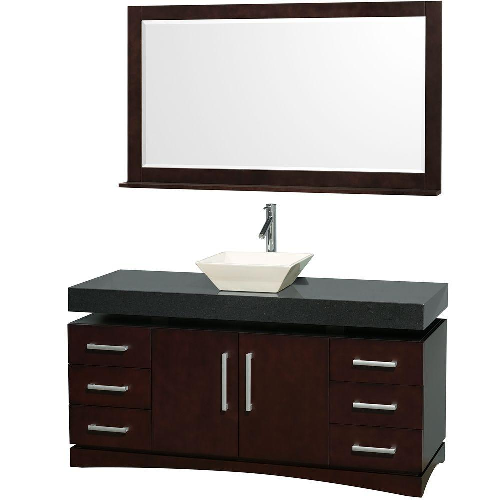 Wyndham Collection Monterey 60 in. Vanity in Espresso with Vanity Top in Black and Porcelain Sink-DISCONTINUED