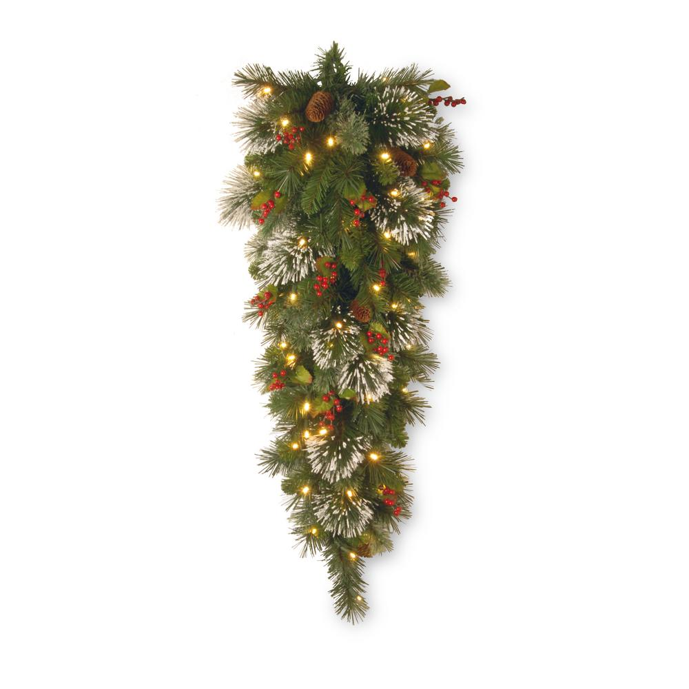 National Tree Company 48 in. Wintry Pine Teardrop with Clear Lights-WP1-306-4-1
