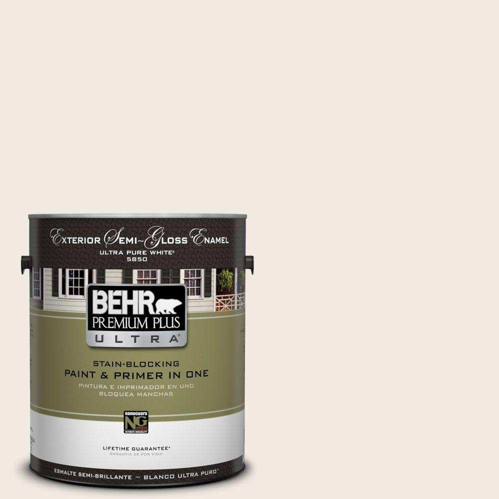 BEHR Premium Plus Ultra 1 gal. #12 Swiss Coffee Semi-Gloss Enamel Exterior Paint