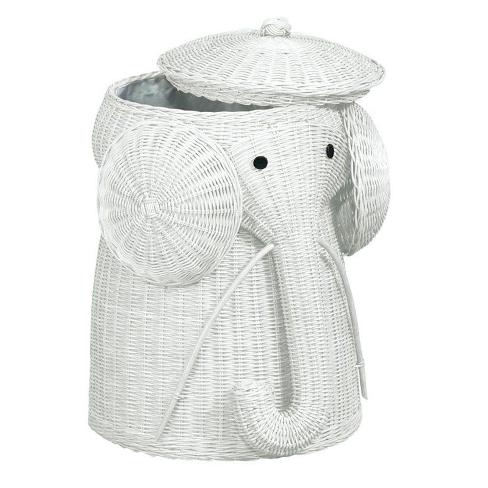 Home Decorators Collection Elephant White Laundry Hamper-DISCONTINUED