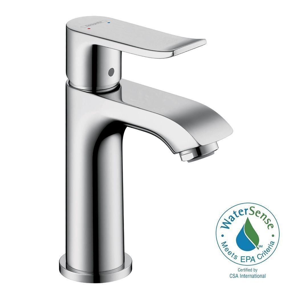 Hansgrohe Metris E 100 Single Hole 1-Handle Low-Arc Bathroom Faucet in Chrome
