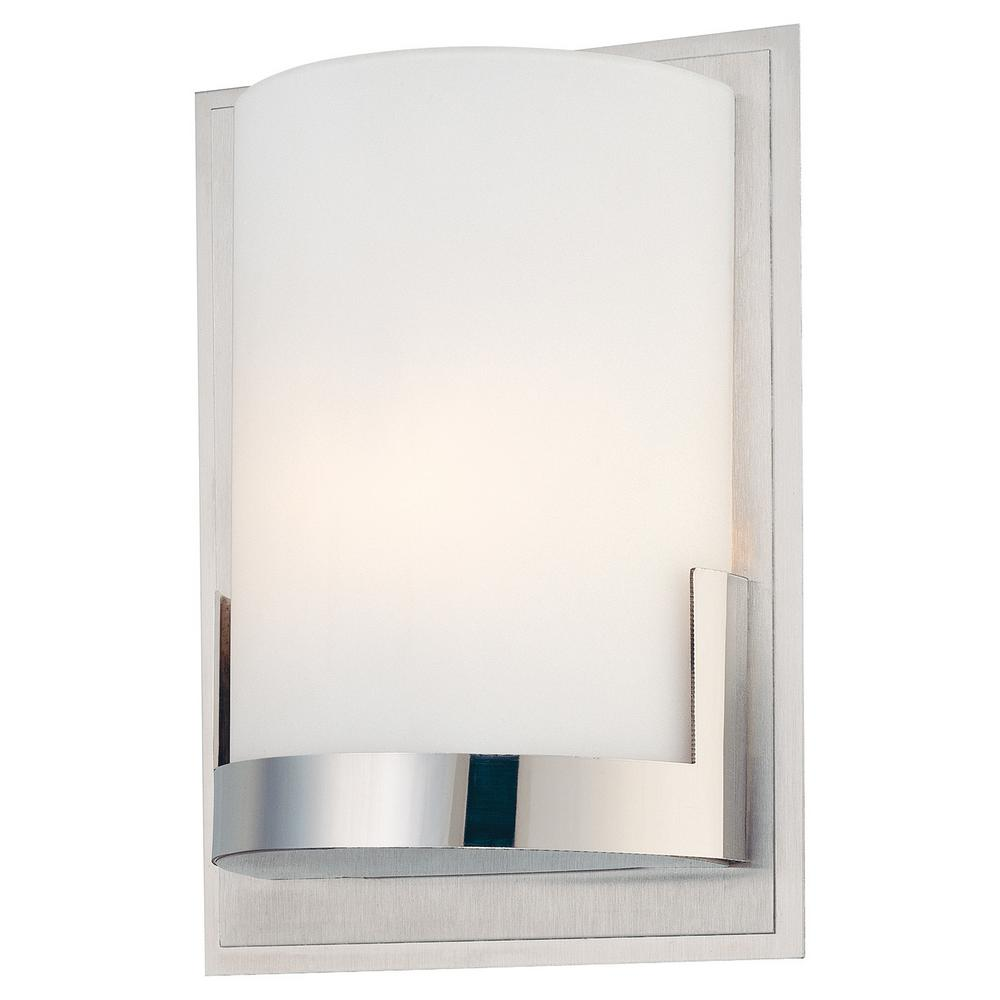 George Kovacs Convex 1-Light Brushed Aluminum Backplate with Chrome Glass Holder Wall Sconce ...