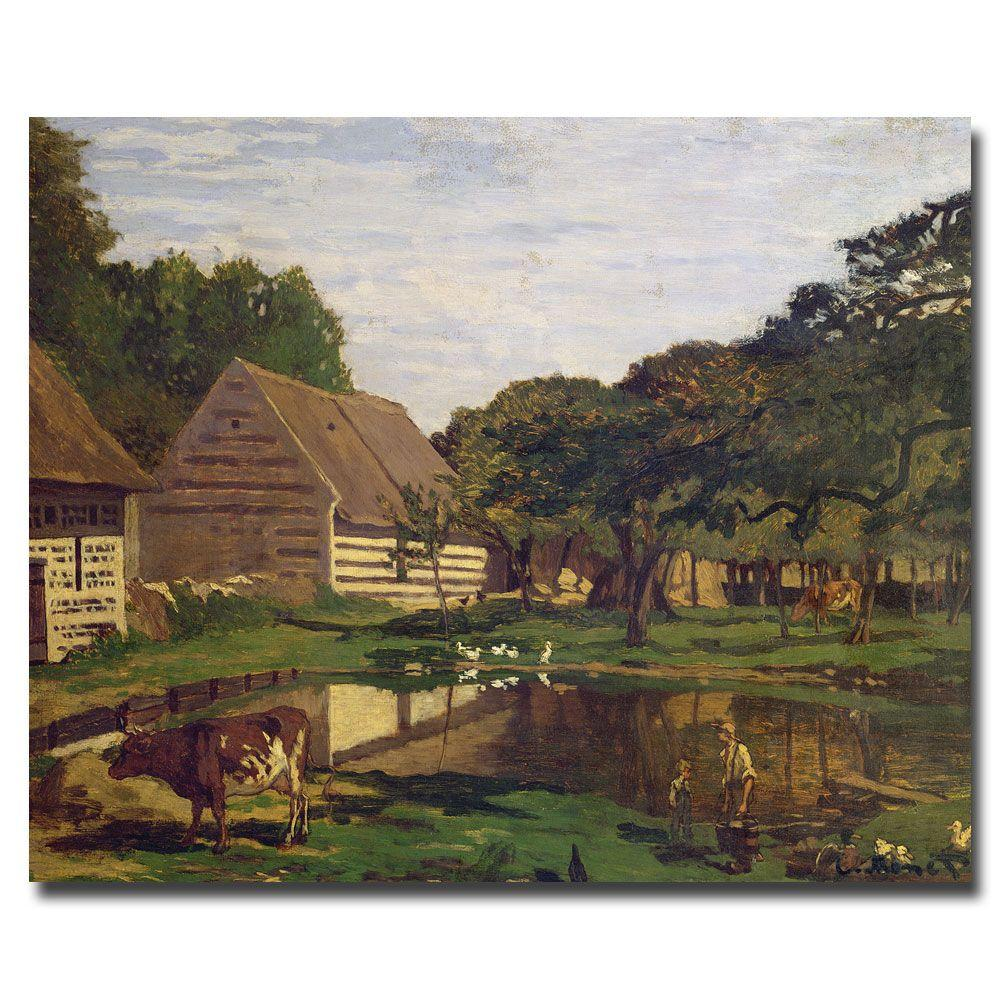 35 in. x 47 in. A Farmyard in Normandy, 1863 Canvas