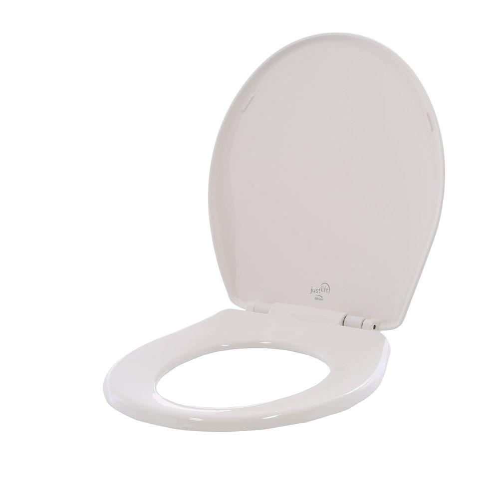BEMIS Just-Lift Round Closed Front Toilet Seat in White