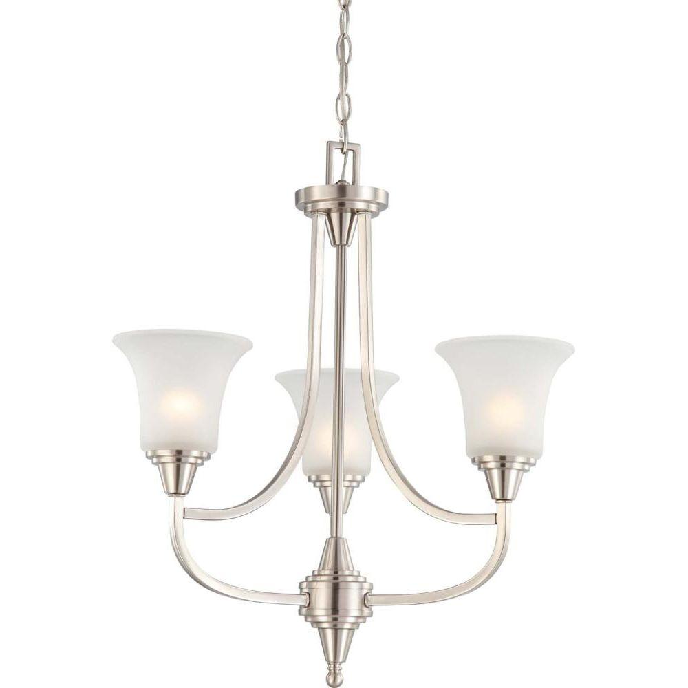 3-Light Brushed Nickel Chandelier with Frosted Glass Shade