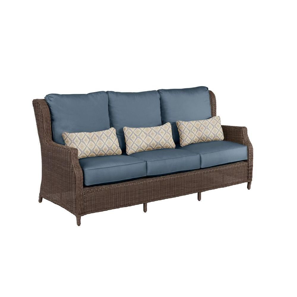Brown Jordan Vineyard Patio Sofa with Denim Cushions and Bazaar Lumbar