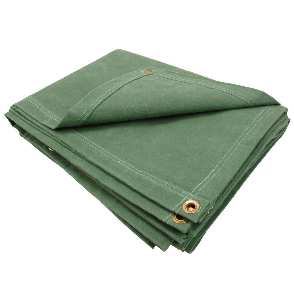 Sigman 5 ft. 8 in. x 9 ft. 8 in. 12 oz. Green Canvas Tarp-DISCONTINUED
