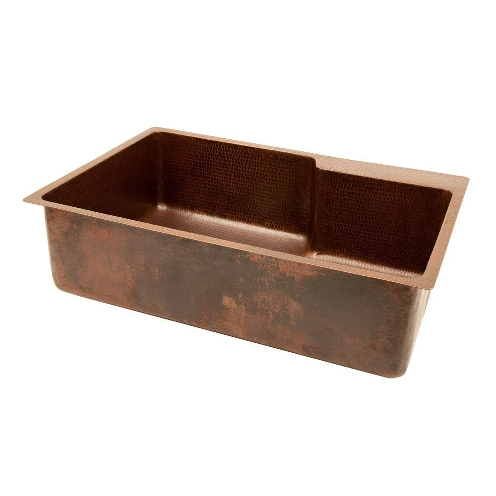 Premier Copper Products Under Counter/Surface-Mount Copper 33 in. 0-Hole Single