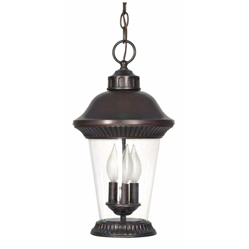 Glomar Clarion 3-Light 17 in. Hanging Lantern with Clear Seed Glass Finished in Chestnut Bronze-DISCONTINUED