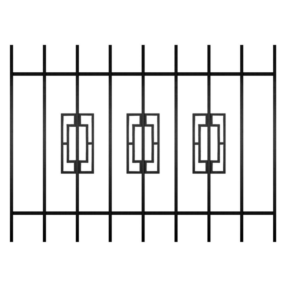 Unique Home Designs Modern Trifecta 48 in. x 36 in. Black 9-Bar Window Guard-DISCONTINUED