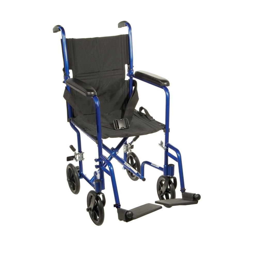 Drive Lightweight Transport Wheelchair in BlueATC19BL The Home – Drive Fly Lite Transport Chair